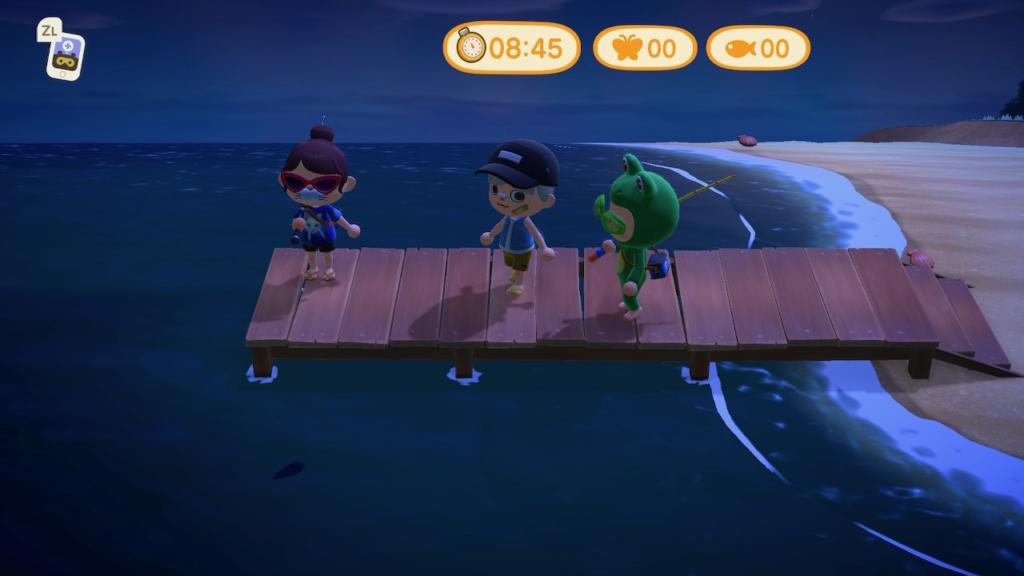 あつ森釣り大会で、3人のプレイヤーが自分のスポットとして桟橋の端めがけて移動している様子。