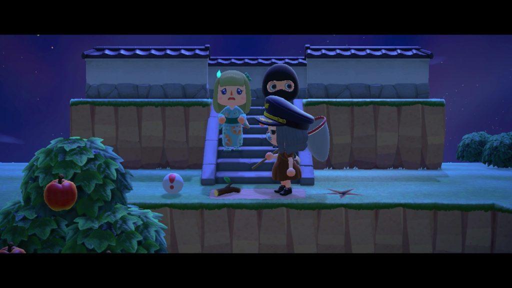 あつ森「ケイドロ遊び」で警察に捕まり悲しそうな顔で助けを待つ2人の泥棒