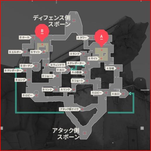 バリアフリーeスポーツePARA企業交流戦で使用されたバイントの爆弾の位置等が記載されている図。