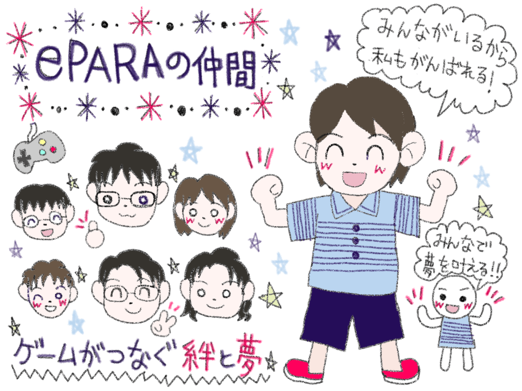 筆者ちえが描くePARAの仲間イメージ図。「ゲームがつなぐ絆と夢」のキャッチフレーズ。6人のメンバーとともに、「みんながいるから私もがんばれる」と意気揚々とする筆者の様子が描かれている。