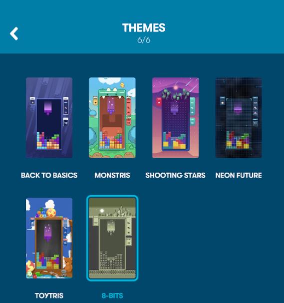スマートフォン版テトリスのテーマ選択画面。上段に4種、下段に2種の計6種のテーマから選択できる。