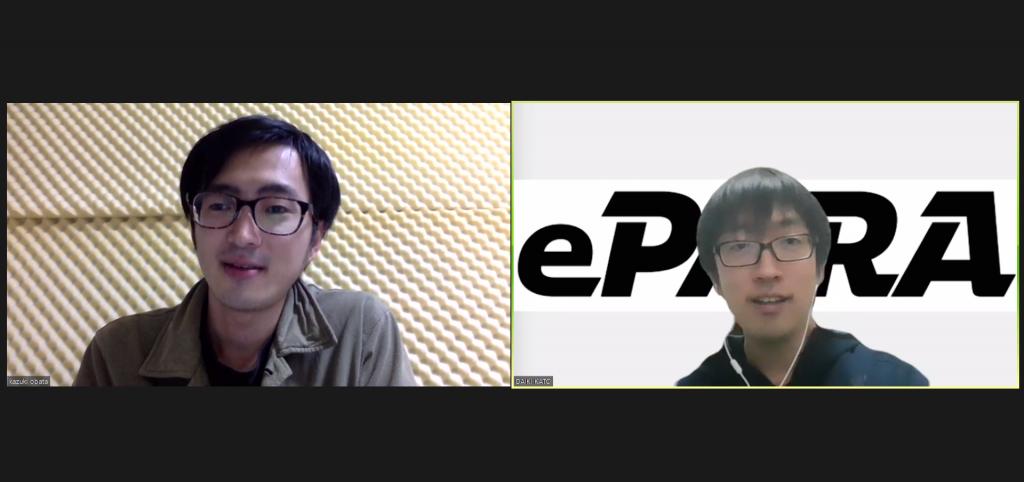 eスポーツインタビューのzoom画面。今回のゲストのゲムトレ・小幡和輝氏とePARA代表・加藤大貴。