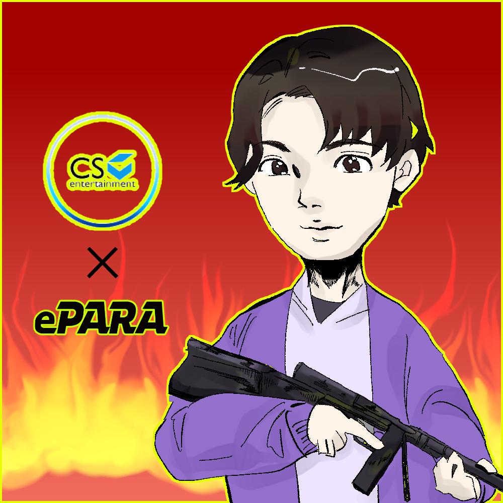 CS entertainment × ePARAのロゴと、銃を構えるパラeスポーツプレイヤージジのイラスト。