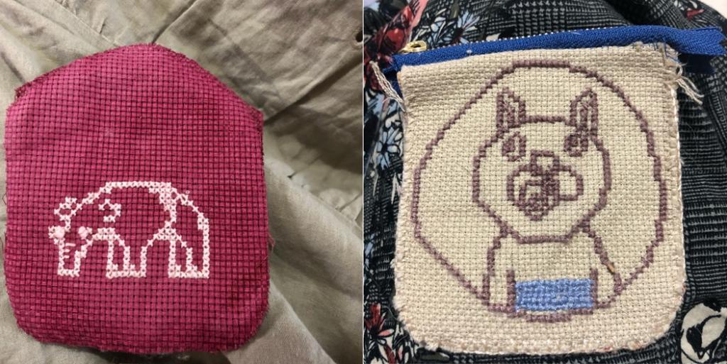 左:赤い生地に白糸で象の刺繍。 右:ベージュの記事に茶色の糸でかわいいクマの刺繍。
