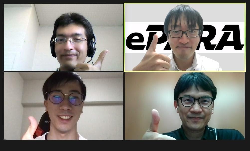 左上にホンダロジコムの石川氏、右上にePARA代表加藤大貴、左下にライターyuudai、右下にホンダロジコムの生駒氏