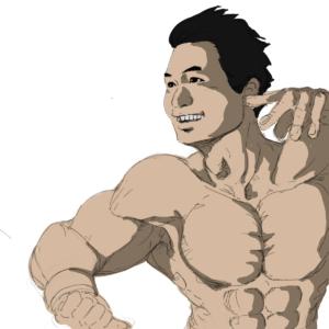 筋骨隆々の男性がポーズをとっている