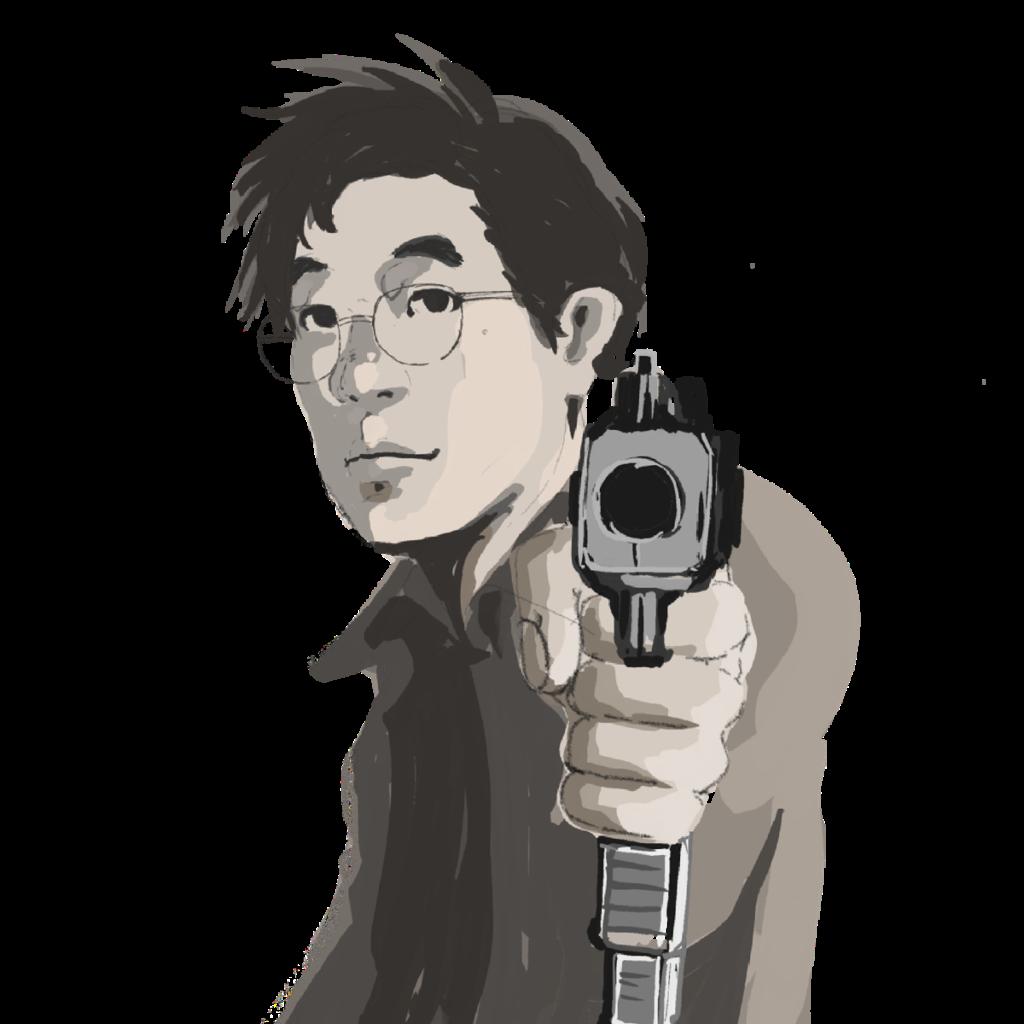 正面に向かって銃を構える眼鏡をかけた男性