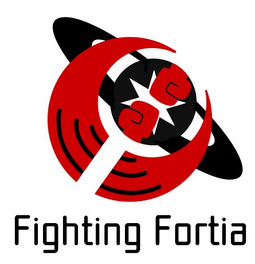 世界や多様性を包み込むイメージの赤色の三日月と、スティグマや偏見を打ち破る力のイメージと格闘ゲームを象徴する拳と拳がぶつかり合うアイコンが描かれたの黒の土星が重なり合うモチーフの下に、 Fighting Fortiaの文字